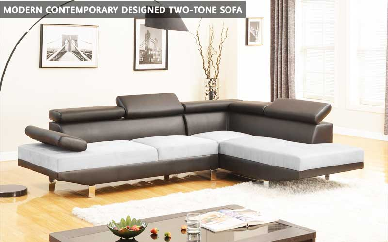Modern Contemporary designed two-tone sofa review